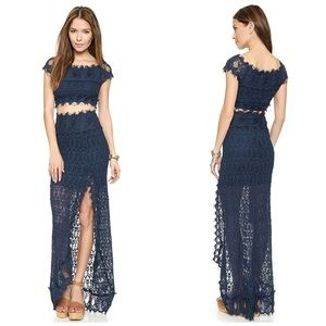NIGHTCAP FLORENCE NAVY LACE MAXI SKIRT REVOLVE